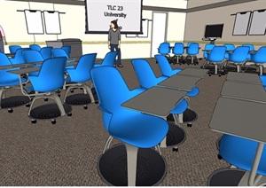 教室内空间SU(草图大师)模型