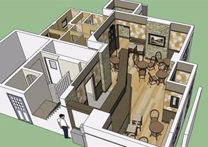 某现代风格室内吧类空间室内SU(草图大师)模型