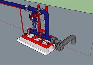 详细水管管道设计SU(草图大师)模型
