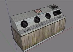 现代园林景观垃圾桶素材设计SU(草图大师)模型