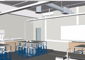 现代风格室内教室设计SU(草图大师)模型