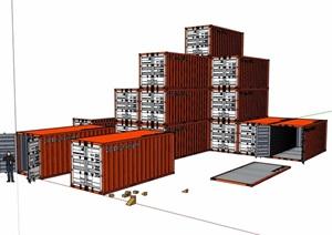 多个集装箱素材设计SU(草图大师)模型