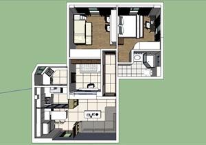 现代小套房设计SU(草图大师)模型