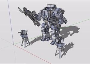 机器人战士设计SU(草图大师)模型