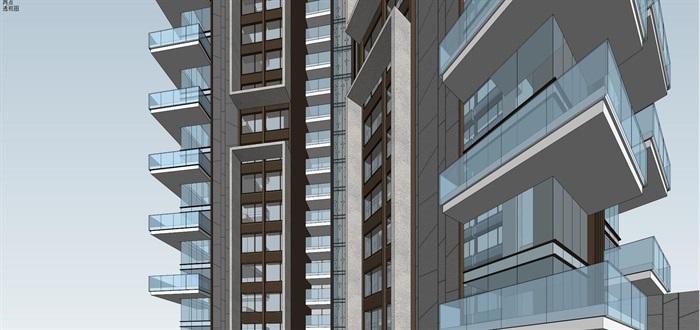 Y字型 超高层现代风格 住宅模型 (1)(1)