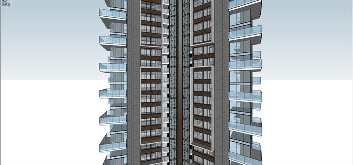 Y字型 超高层现代风格 住宅模型 (1)(4)