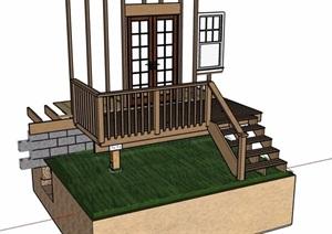 某建筑樓梯欄桿設計SU(草圖大師)模型