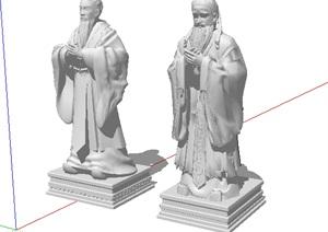 中国古代人物雕塑小品SU(草图大师)模型