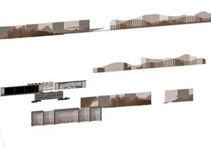 园林景墙格栅山造型墙SU(草图大师)模型打包