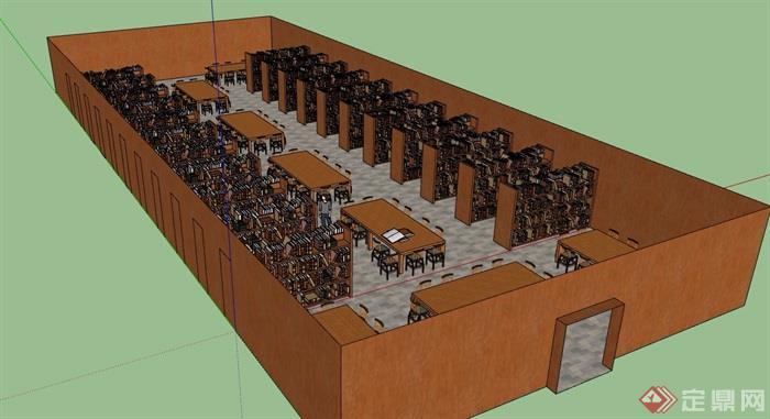 图书馆详细室内su模型