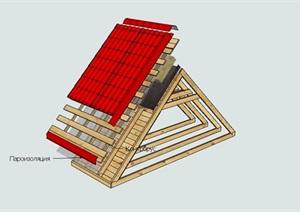 某建筑屋顶构件设计SU(草图大师)模型