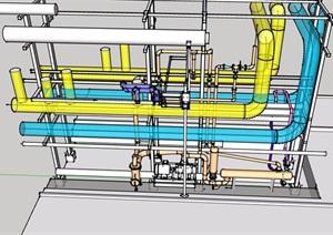 某工厂管道素材设计SU(草图大师)模型