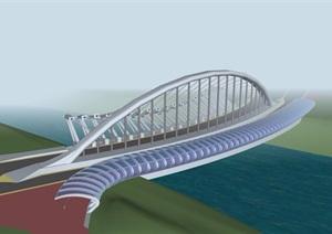 现代风格独特交通桥梁建筑SU(草图大师)模型