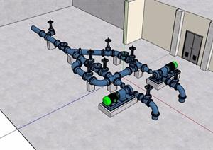 管道水管素材设计SU(草图大师)模型