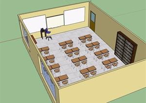 详细的室内教室设计SU(草图大师)模型