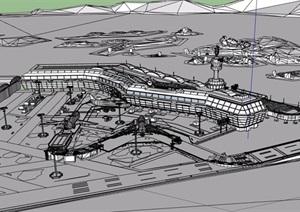 不完整的机场交通建筑SU(草图大师)模型