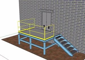 某铁艺楼梯踏步设计SU(草图大师)模型