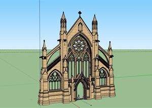 英式风格墙体构造设计SU(草图大师)模型