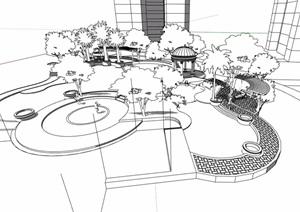 欧式住宅中庭景观设计SU(草图大师)模型