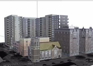 混搭住宅楼建筑设计SU(草图大师)模型