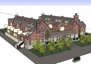 欧式风格详细的联排小区住宅别墅设计SU(草图大师)模型