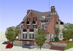 英式风格详细多层住宅别墅建筑SU(草图大师)模型