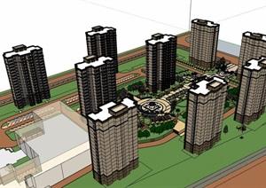某详细的住宅楼建筑设计SU(草图大师)模型含景观