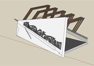 独特车库入口廊架详细设计SU(草图大师)模型