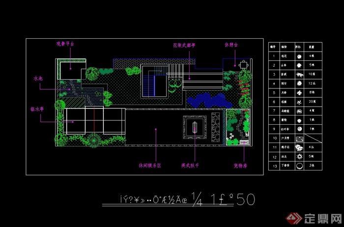 完整的屋頂花園平面設計cad圖