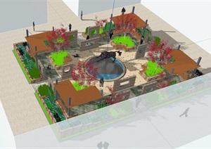 某休闲小型公园景观设计SU(草图大师)模型