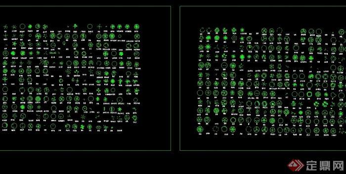 几百种树木图例cad图
