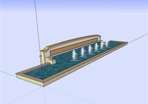 现代风格喷泉水池SU(草图大师)模型