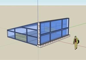 玻璃采光井设计SU(草图大师)模型