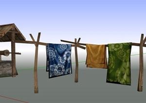 中式古井及晾衣杆街景素材SU(草图大师)模型