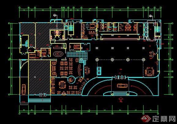 酒店一樓大堂室內設計平面圖