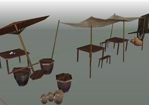 凉棚、售卖摊、马车街景素材SU(草图大师)模型