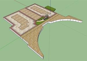 现代风格地面铺装设计SU(草图大师)模型