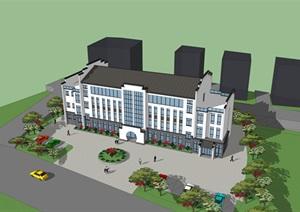 某村委楼、中式办公楼建筑及场地模型