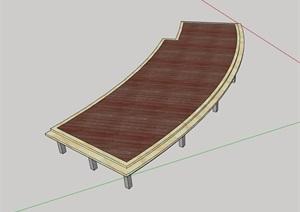 园林景观详细的栈道设计SU(草图大师)模型