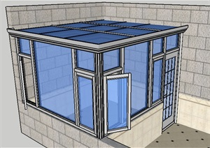 阳光房 玻璃房 SU(草图大师)模型