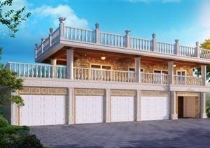 二层简欧小楼建筑模型及效果图