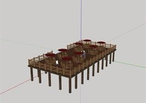 中式详细的木栈道详细设计SU(草图大师)模型