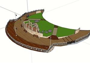 某观景平台栈桥设计SU(草图大师)模型