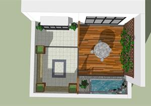 一個面積很小的屋頂花園功能區域設計