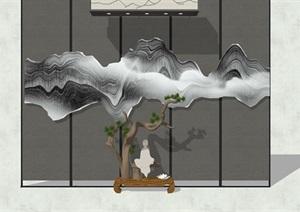 新中式风格山水背景墙设计SU(草图大师)模型