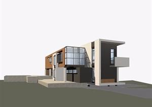 现代风格独栋别墅建筑效果图