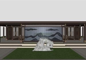 新中式廊架景观设计模型