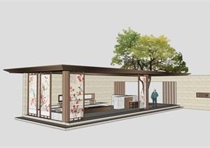 新中式百花廊架景观模型