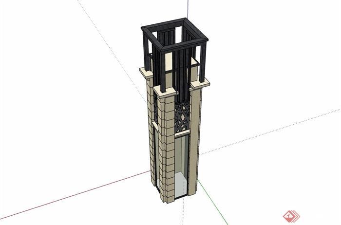 详细的新古典风格景观柱素材su模型