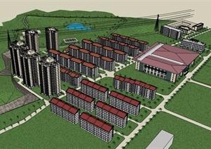 详细的居住小区楼混搭设计SU(草图大师)模型